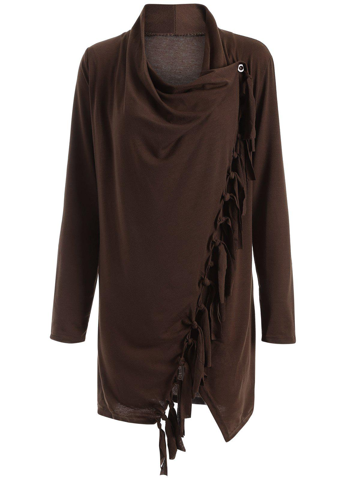 Long Sleeve Tassels Side Button CapeWomen<br><br><br>Size: M<br>Color: COFFEE