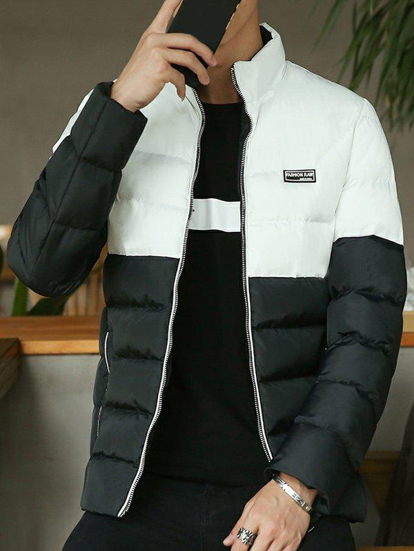 Two Tone Zip Up Side Pocket Padded Jacket - BLACK M