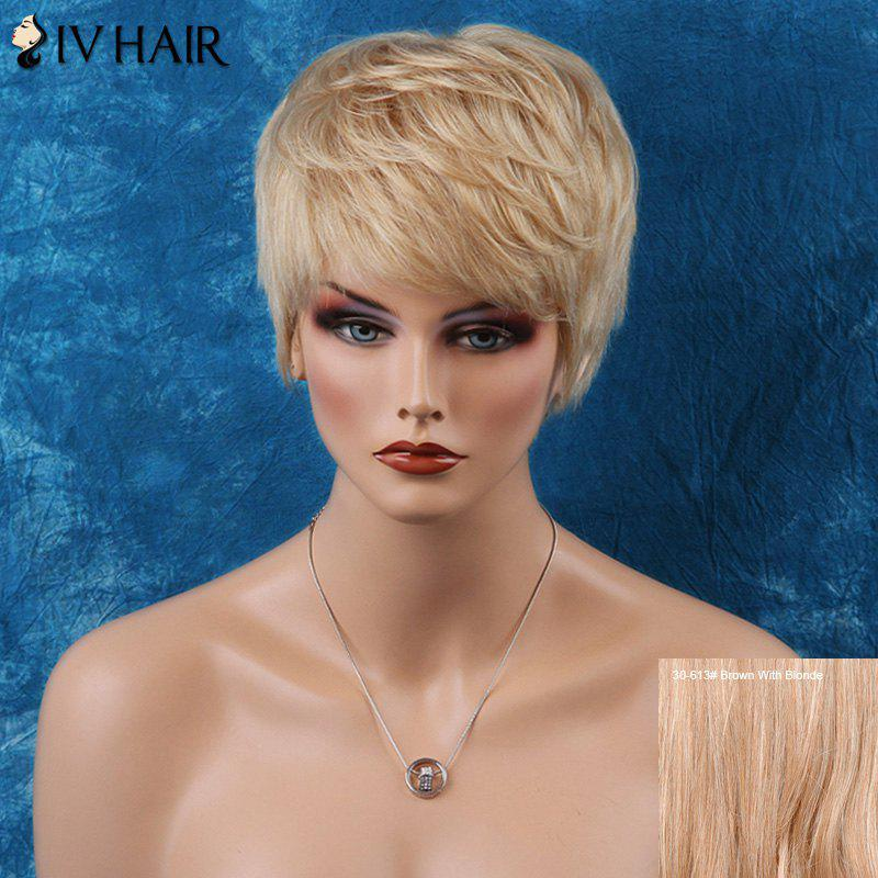 Siv Layered Straight Short Inclined Bang Human Hair Wig - BROWN/BLONDE