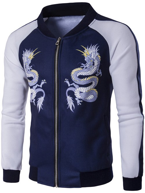 Zip Up Dragon Print Raglan Sleeve Jacket - BLUE L