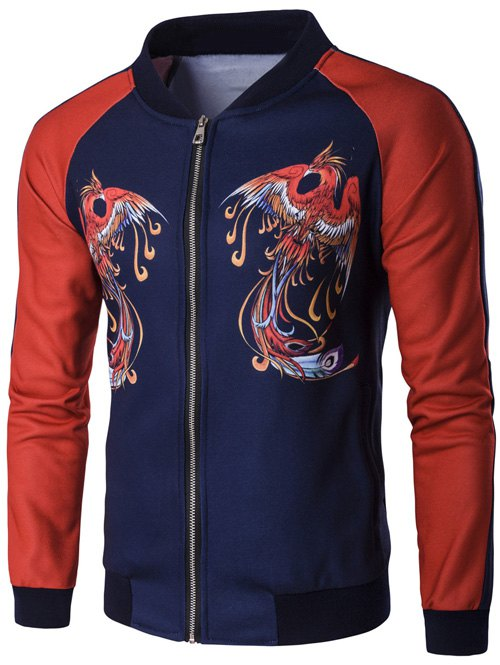 Zip Up Phoenix Print Raglan Sleeve Jacket - RED M