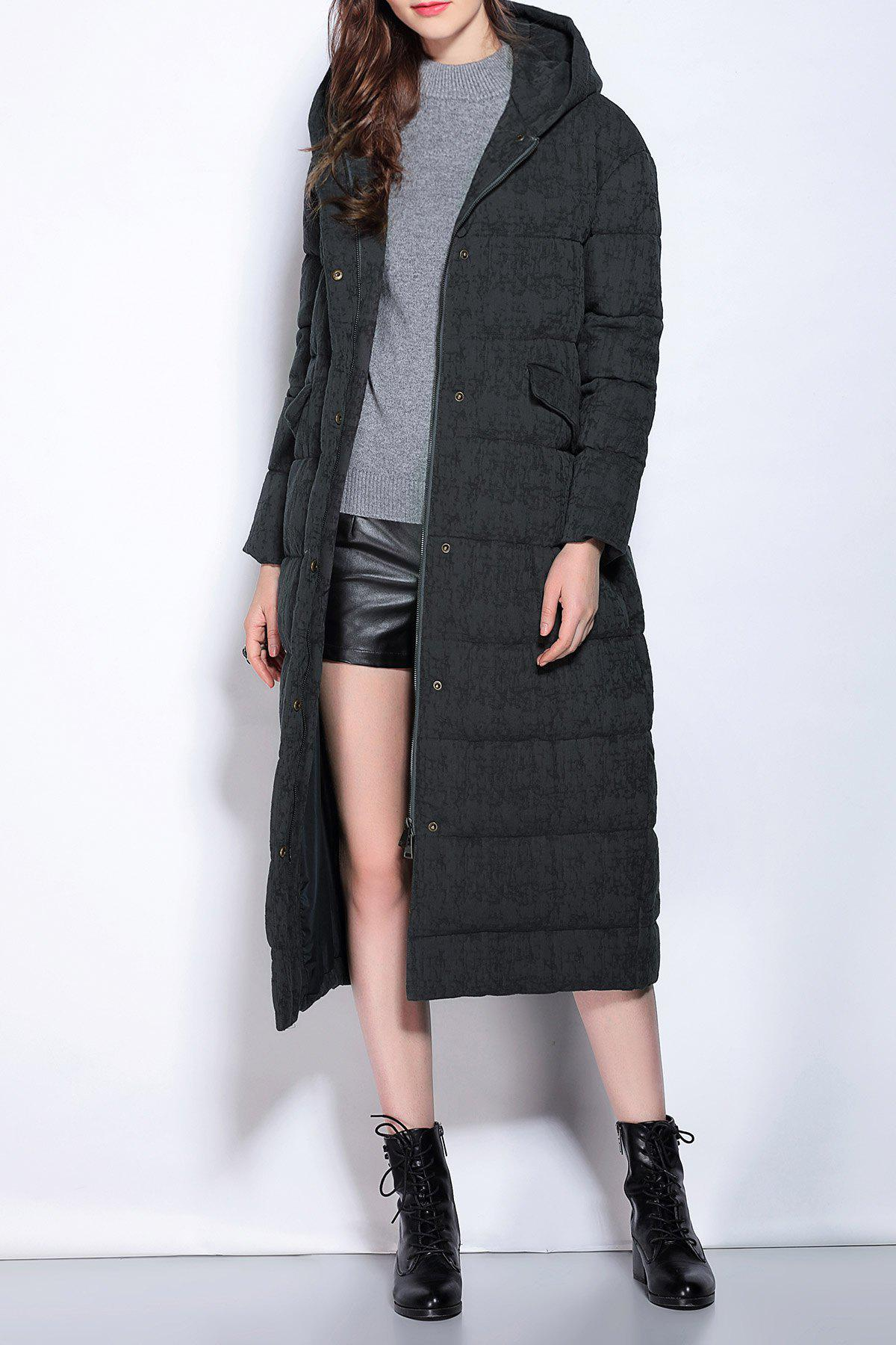 Hooded Zipper Fly Buttoned Down CoatWomen<br><br><br>Size: XL<br>Color: BLACK