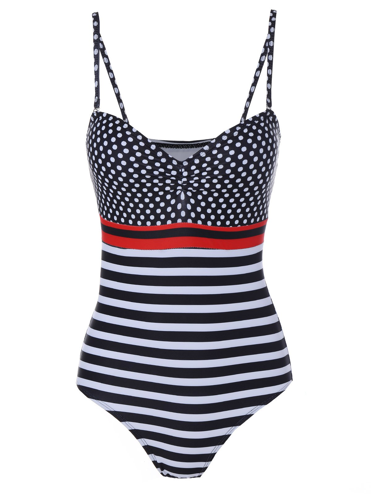 Trendy Spaghetti Strap Polka Dot Striped One Piece Swimwear For Women - COLORMIX S