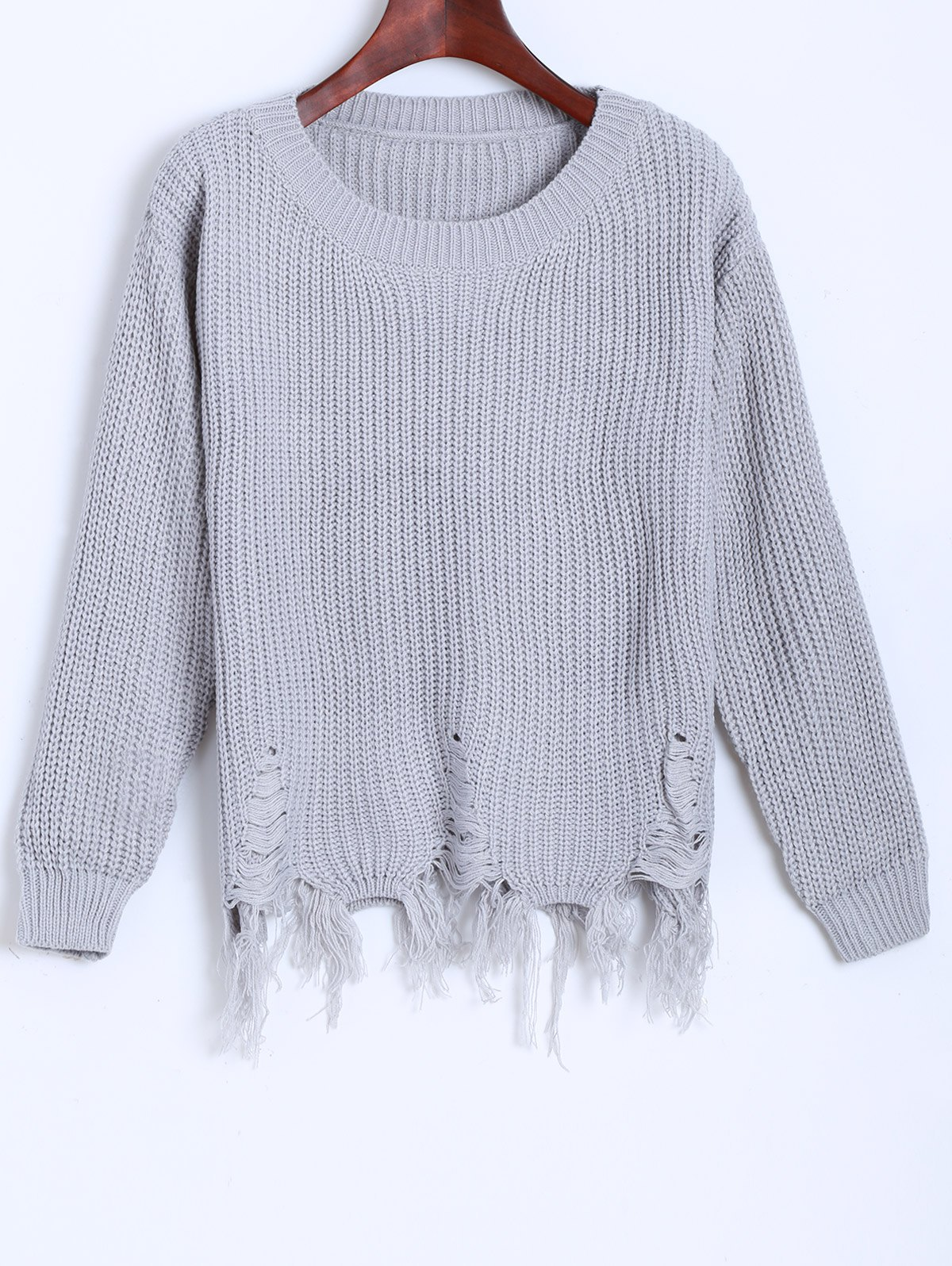 Distressed Fringed Chunky SweaterWomen<br><br><br>Size: ONE SIZE<br>Color: GRAY