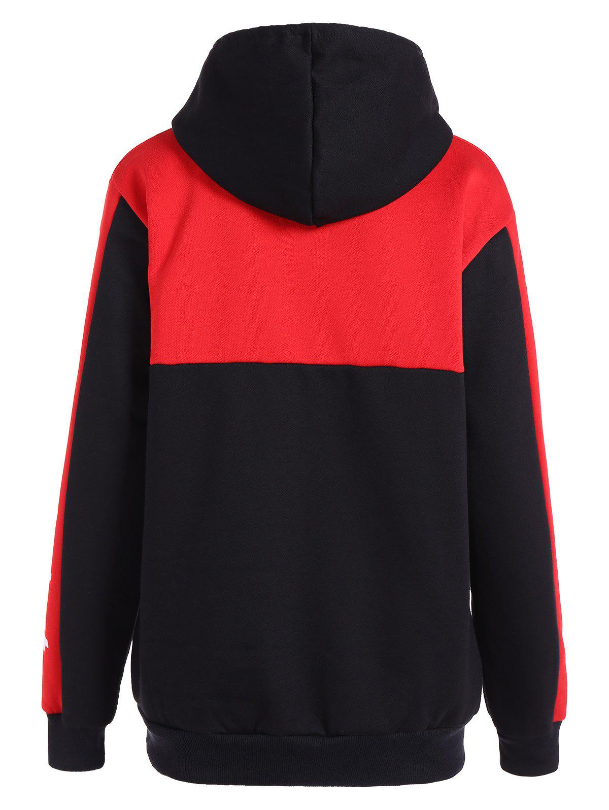 Colo Block Drawstring Letter Hoodie - RED L