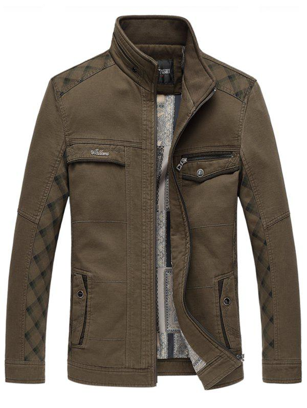 Stand Collar Pocket Insert Zip Up Jacket - COFFEE 4XL