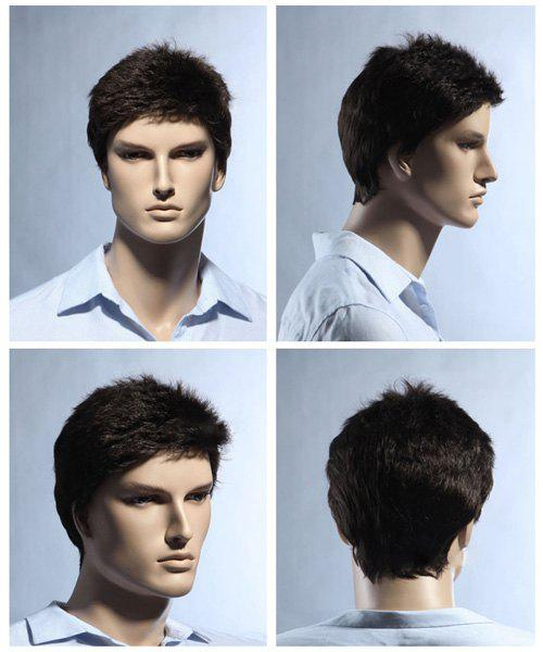 Men's Pixie Cut Short Fluffy Straight Synthetic Wig - BROWN