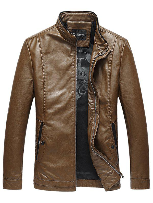 Stand Collar Pocket Padded Faux Leather Jacket - YELLOW 3XL