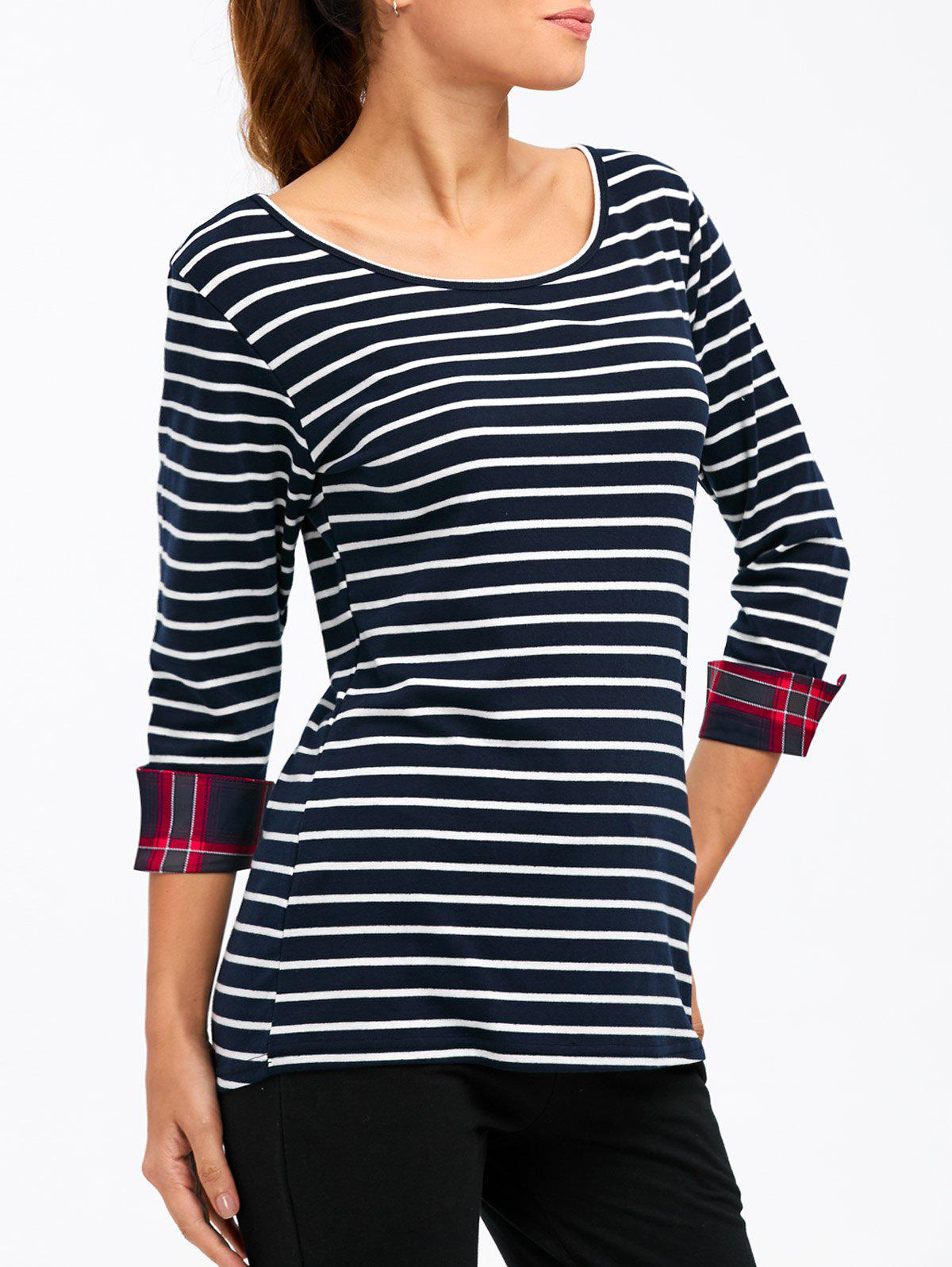 Striped Cuffed Slimming T-shirt - Bleu Foncé S
