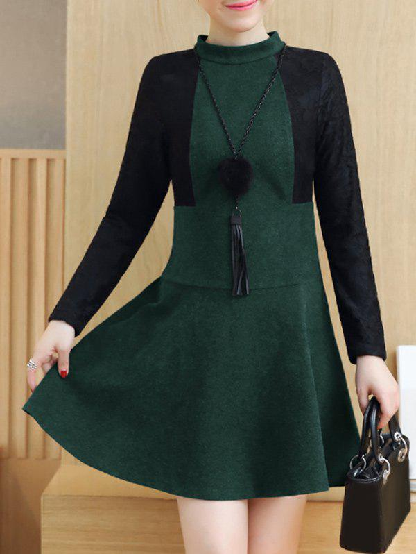 Lace Insert Woolen Swing Dress - BLACKISH GREEN S