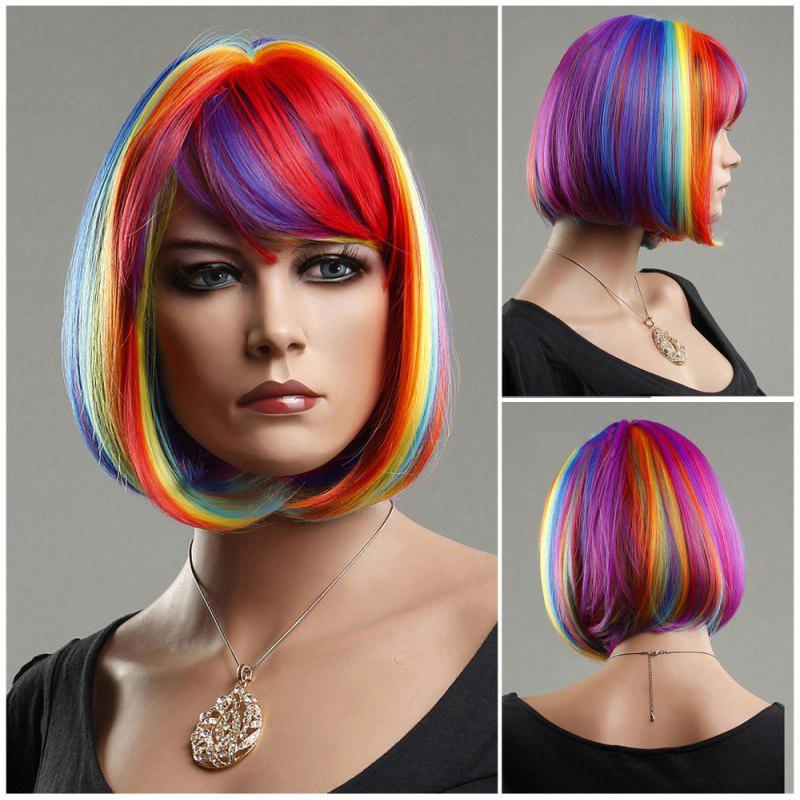 Short Side Bang Rainbow Straight Cosplay Synthetic Wig cosplay party makeup tilted bang short straight chemical fiber hair wig golden