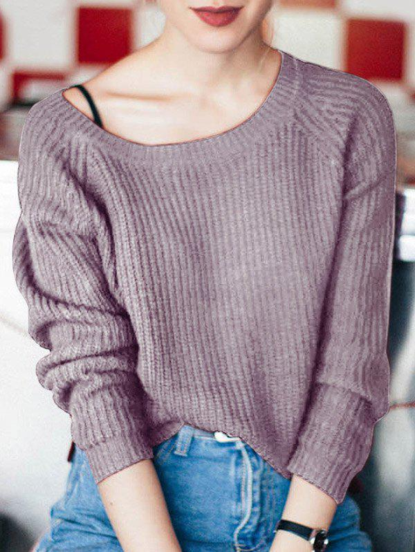 Boat Neck Loose-Fitting Ribbed Sweater - PURPLE ONE SIZE