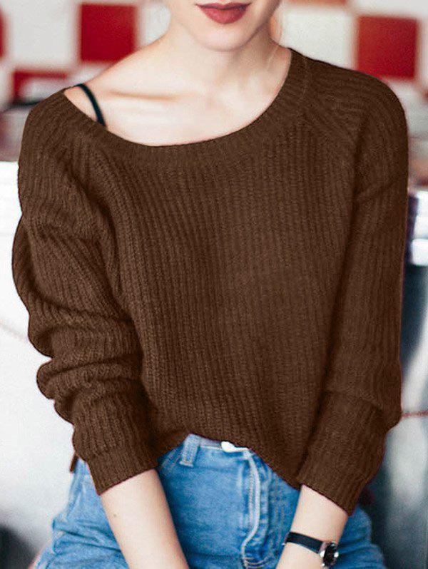 Boat Neck Loose-Fitting Ribbed Sweater - COFFEE ONE SIZE