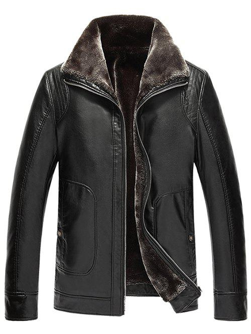 Flocking Pocket Zip Up Faux Leather Jacket - BLACK XL