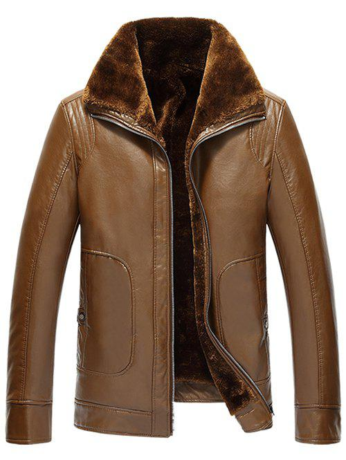 Flocking Pocket Zip Up Faux Leather Jacket - EARTHY 5XL