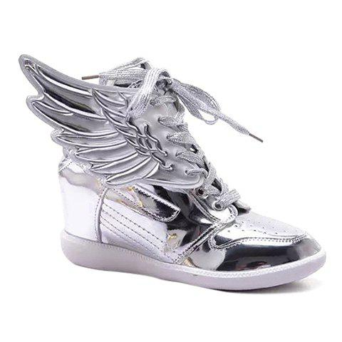 Wing Tie Up Metallic Color Athletic Shoes - SILVER 39