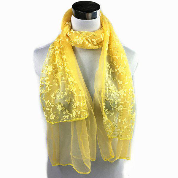 Wintersweet Embroidery Lace Scarf - YELLOW