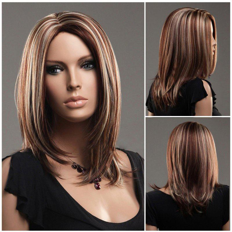 Medium Multi Color Middle Part Straight Synthetic Wig - COLORMIX