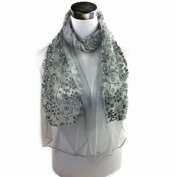Wintersweet Embroidery Lace ScarfAccessories<br><br><br>Color: GRAY