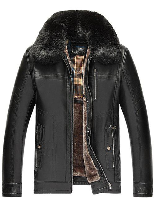 Zip Pocket Detachable Faux Fur Collar PU Leather Flocking Jacket - BLACK XL