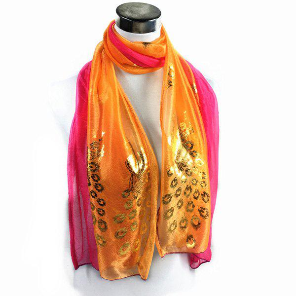 Peacock Gilding Color Block Scarf - ORANGE YELLOW