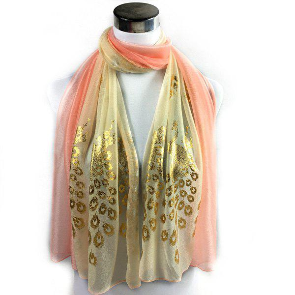Peacock Gilding Color Block Scarf - PINK