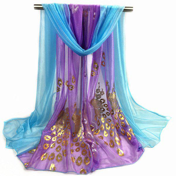 Peacock Gilding Color Block Scarf - VIOLET