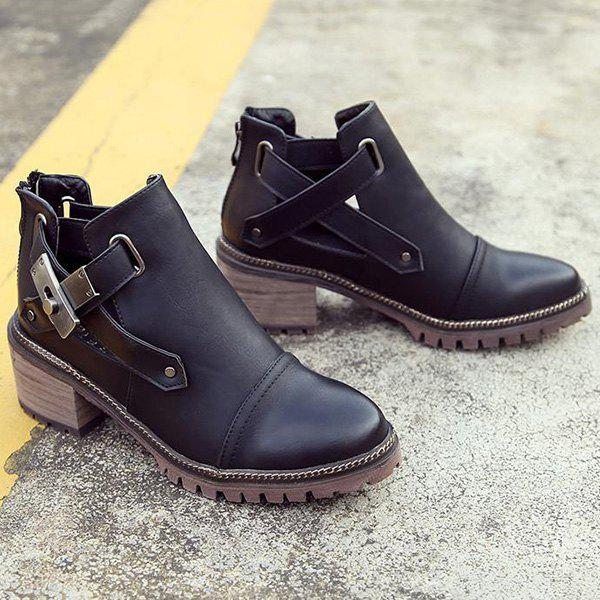 Chunky Heel Metal Zipper Ankle BootsShoes<br><br><br>Size: 38<br>Color: BLACK