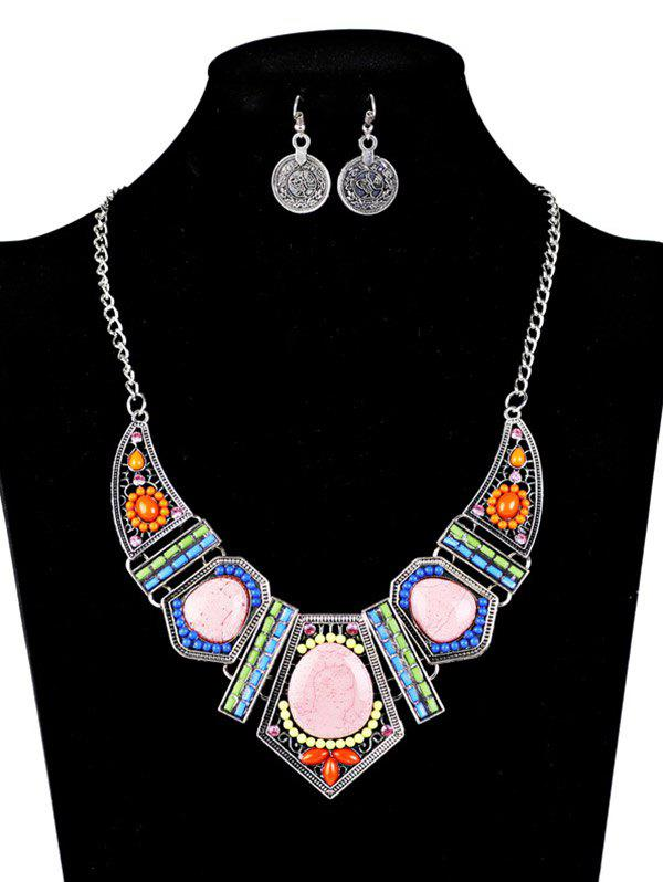 Bohemian Natural Stone Necklace and Earrings - SILVER