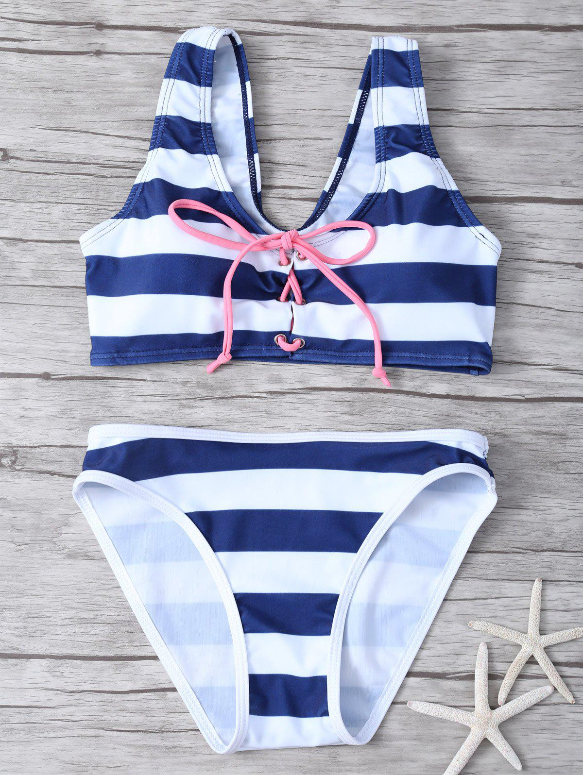 Lace Up Striped Bikini Set - STRIPE S