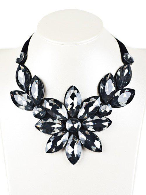 Faux Crystal Floral Statement Necklace - BLACK