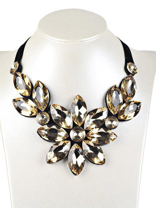 Faux Crystal Floral Statement Necklace - YELLOW