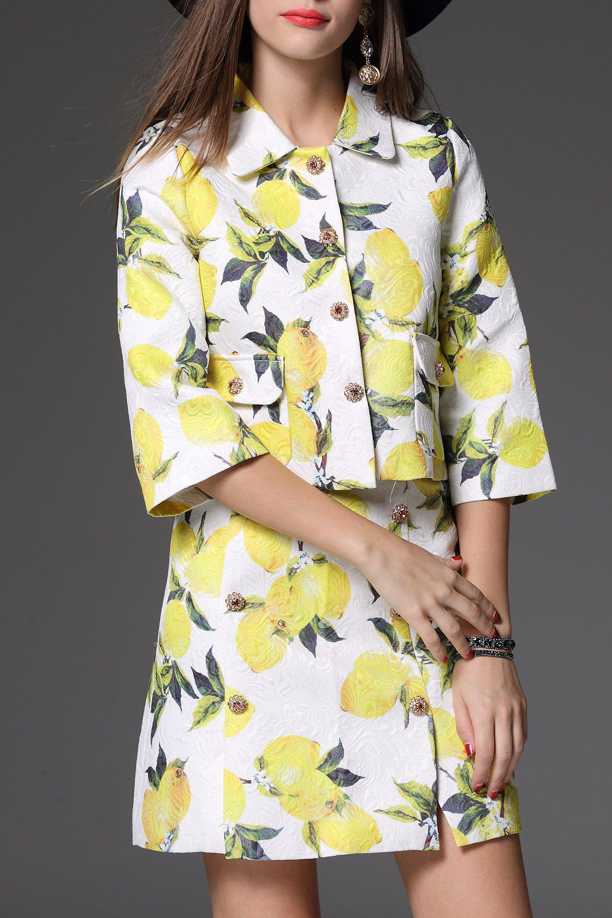 Print Short Jacket With A Line Skirt - YELLOW L