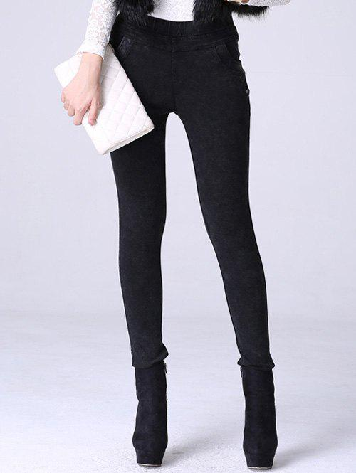 High Waisted Denim Fleece Cigarette Pants - BLACK 2XL