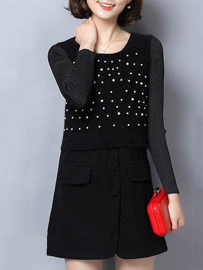 Paneled Beaded Woolen Dress - BLACK 3XL