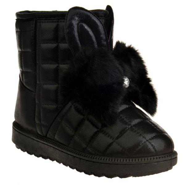 Faux Fur Checked Snow Boots - BLACK 38