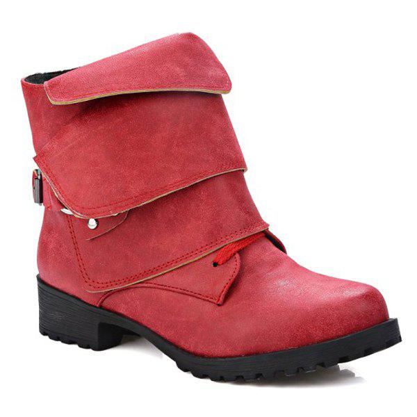 Fold Over Buckle Ankle Boots - RED 39