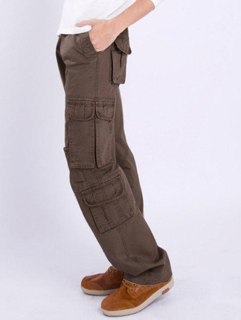 Zipper Fly Multi Pocket Straight Leg Pants - COFFEE 31