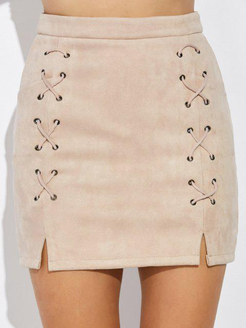 Double Criss Cross Bandages Faux Suede Skirt - NUDE M