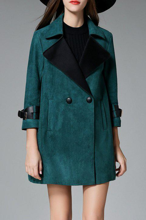 Wide-Waisted Buttoned Faux Suede Coat - GREEN S