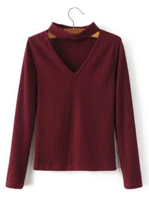 Keyhole Neck Pullover Ribbed Sweater - BURGUNDY S