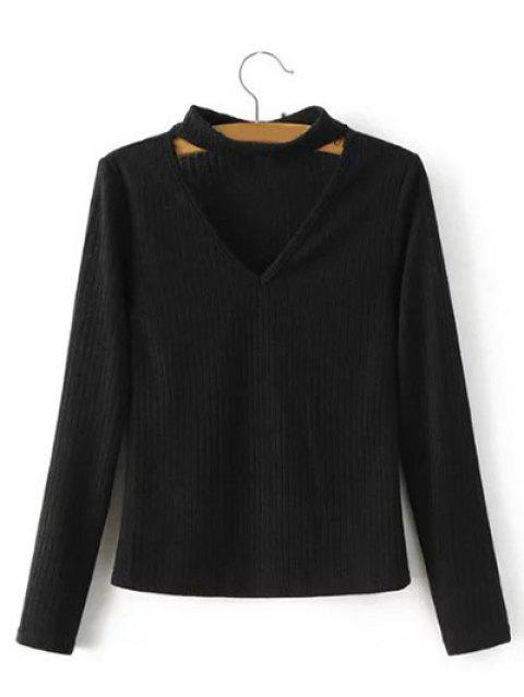Keyhole Neck Pullover Ribbed Sweater - BLACK L