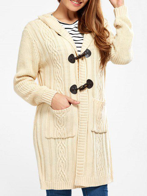 Hooded Long Cable Knit Cardigan - PALOMINO S