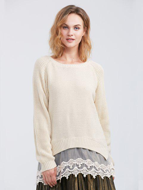 Raglan Sleeve Lace Spliced Asymmetric Pullover Sweater - OFF WHITE M