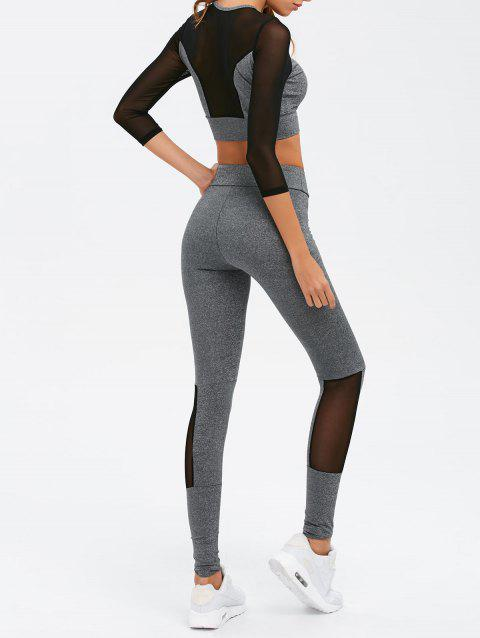 Skinny Mesh Spliced Sport Suit - GRAY L