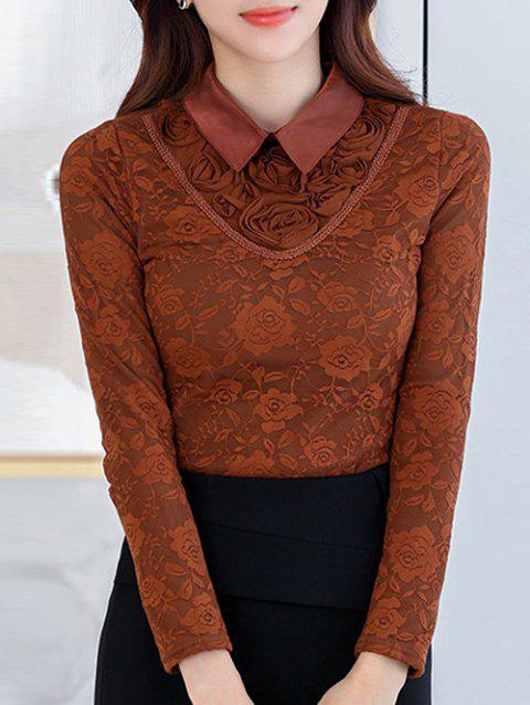 Flower Fleece Lace Top - COFFEE S