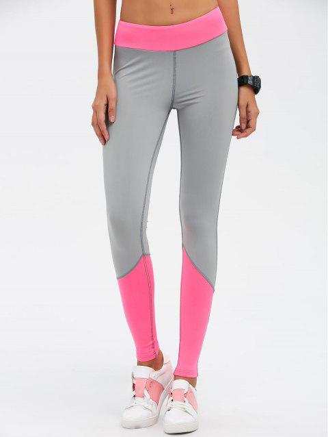 Taille haute Color Block Skinny Sport Leggings - Rouge Rose M