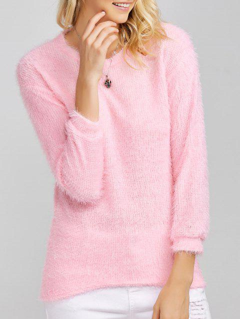 Scoop Neck Fleece Asymmetric Sweater - Rose XL