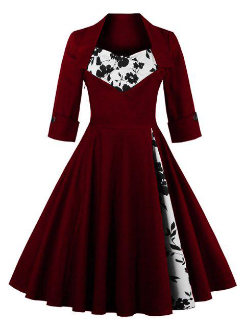 Knee Length Floral Flare Corset Dress - WINE RED L