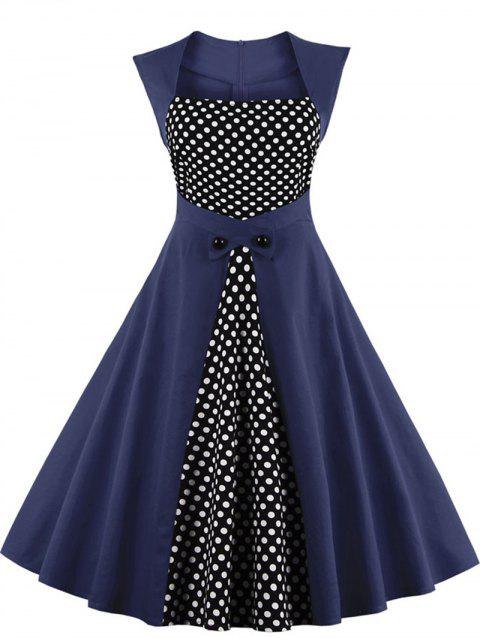 Polka Dot Semi Formal Midi Skater Dress - PURPLISH BLUE L
